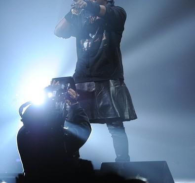 Kanye's Leather Kilt Makes Some Viewers Upset.